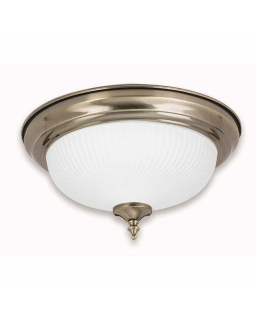 Globe Lighting 42709 Two Light Flush Ceiling in Antique Brass Finish