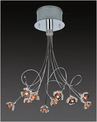 Trans Globe Lighting MDN-326 AMB Ten Light Pendant Ceiling Mount in Polished Chrome Finish and Amber Glass - Quality Discount Lighting