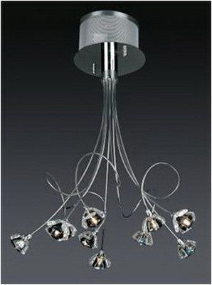 Trans Globe Lighting MDN-326 BL Ten Light Pendant Ceiling Mount in Polished Chrome Finish and Blue Glass - Quality Discount Lighting