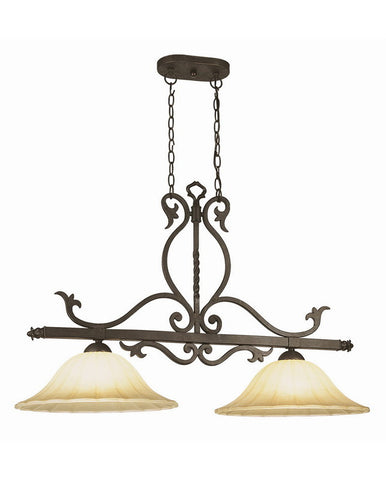 Trans Globe Lighting 6097 WB New Century Collection 2 Light Island Chandelier in Weathered Bronze Finish