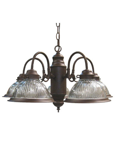 Epiphany Lighting 100255 CS Five Light Chandelier in Cobblestone Finish and Clear Ribbed Glass - Quality Discount Lighting