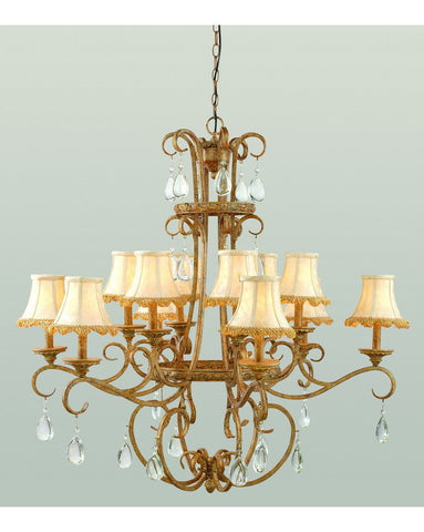 Trans Globe Lighting 7512 AG Twelve Light Chandelier in Antique Gold Finish with Crystal Accents and Shades