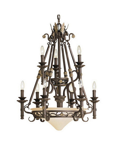 Kichler Lighting 1909 FZ Puerta Collection Twelve Light Chandelier in Fraciscan Bronze Finish - Quality Discount Lighting