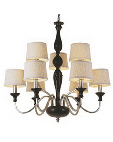 Trans Globe Lighting 6309 Nine Light Chandelier in Brown Wood and Pewter Finish