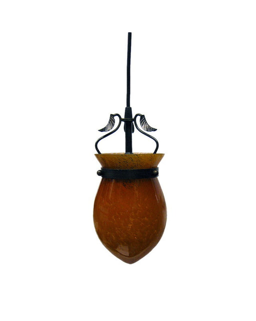 Trans Globe Lighting 65077 One Light Hanging Mini Pendant in Cinnamon Finish and Amber Glass