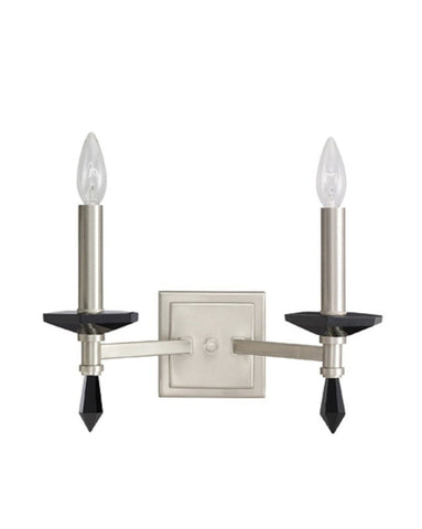 Kichler Lighting 6089 BLC Adrianna Collection Two Light Wall Sconce in Polished Pewter Finish With Black Crystal - Quality Discount Lighting
