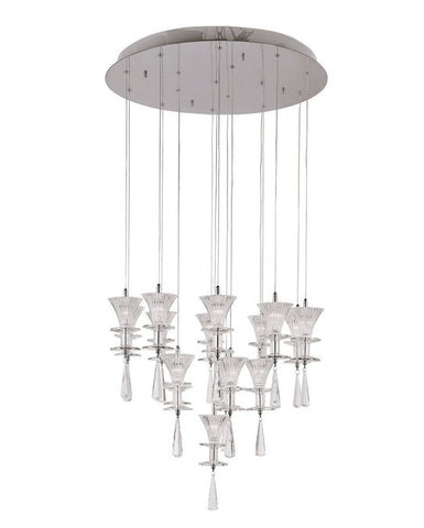 Trans Globe Lighting MDN-930 Sixteen Light Chandelier in Polished Chrome Finish and Clear Fluted Glass - Quality Discount Lighting