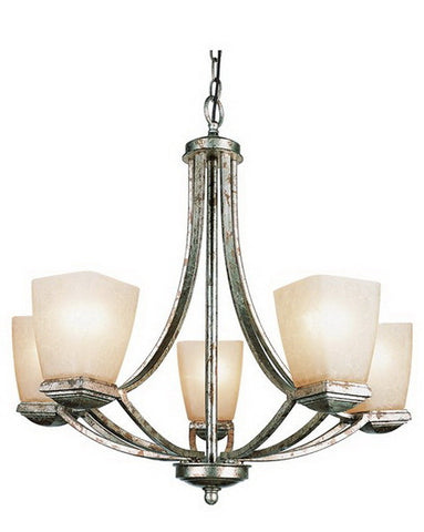Trans Globe Lighting 9675 GL Five Light Chandelier in Gilded Pewter Finish - Quality Discount Lighting