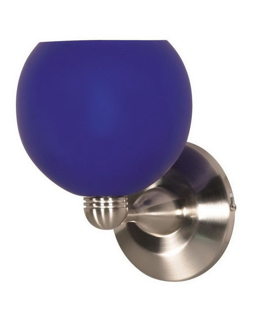 Nuvo Lighting 60-694 One Light Wall Sconce in Brushed Nickel Finish and Cobalt Blue Sphere Glass - Quality Discount Lighting