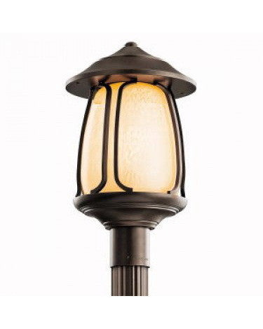 Kichler Lighting 49142 OZ-FL Pasadena Collection One Light Energy Efficient Fluorescent Outdoor Exterior Post Mount in Olde Bronze Finish - Quality Discount Lighting