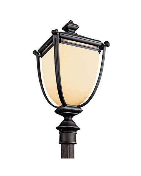 Kichler Lighting 49105 RZ-FL Warner Park Collection One Light GU24 Energy Efficient Fluorescent Outdoor Exterior Post Mount in Rubbed Bronze Finish - Quality Discount Lighting