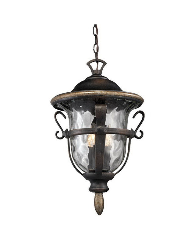 Kalco lighting 9396 rb three light outdoor exterior hanging pendant lantern in royal bronze finish