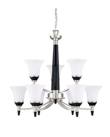 Nuvo Lighting 60-2456 Keen Collection Nine Light Energy Star Efficient Fluorescent GU24 Chandelier in Brushed Nickel Finish - Quality Discount Lighting
