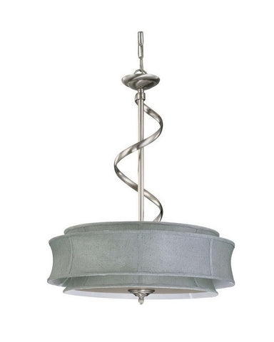 Nuvo Lighting 60-3872 Darwin Collection Three Light Energy Star Efficient Fluorescent GU24 Pendant Chandelier in Brushed Nickel Finish - Quality Discount Lighting