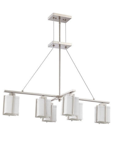 Nuvo Lighting 60-4371 Logan Island Collection Six Light Energy Star Efficient Fluorescent GU24 Island Chandelier in Brushed Nickel Finish - Quality Discount Lighting