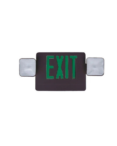 Razr COMU12GB SIX PACK of Green Letter and Black Exit Emergency Combo Sign with Side or Top Mounting Heads