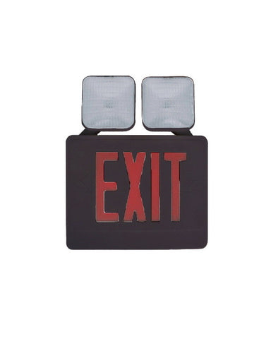 Razr COMU12RB SIX PACK of Red Letter and Black Exit Emergency Combo Sign with Side or Top Mounting Heads