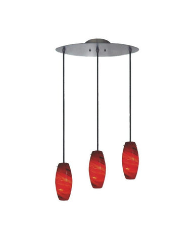 Epiphany Lighting PCP504 BN Three Light Pendant in Brushed Nickel Finish and Crimson Glass