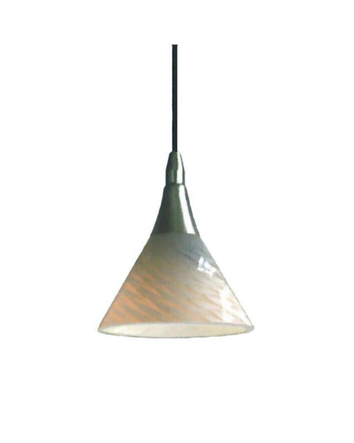 Epiphany Lighting PCP306 BN One Light Mini Pendant in Brushed Nickel Finish and White Ovation Glass