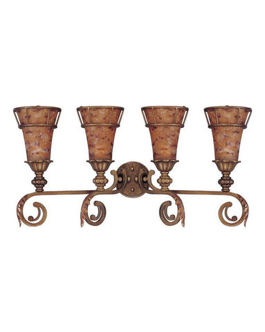 Nuvo Lighting 60-1532 Marmount Collection Four Light Bath Vanity Wall Fixture in Antique Gold Finish - Quality Discount Lighting