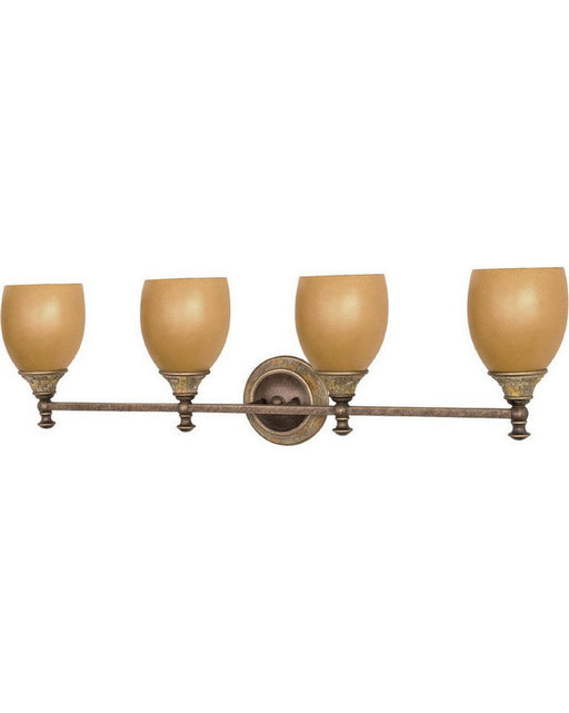 Nuvo Lighting 60-2478 Rockport Tuscano Collection Four Light Energy Efficient Fluorescent Bath Vanity Wall Mount in Dorado Bronze Finish - Quality Discount Lighting