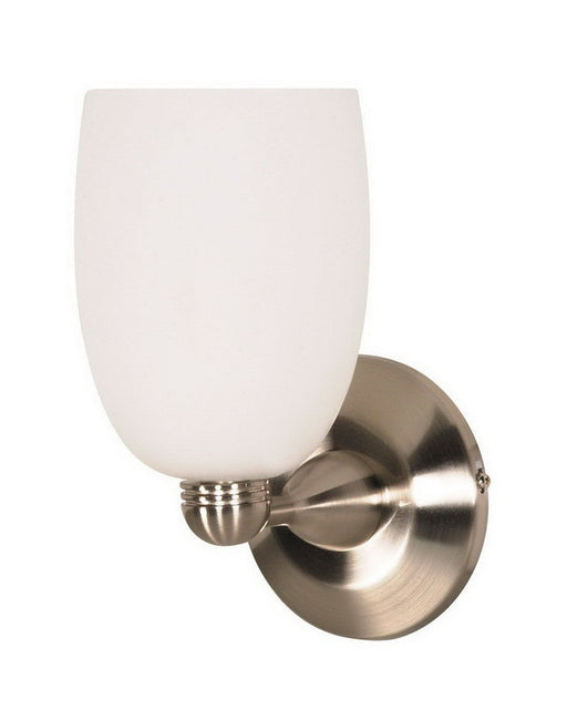 Nuvo Lighting 60-692 One Light Wall Sconce in Brushed Nickel Finish and White Brandy Glass - Quality Discount Lighting