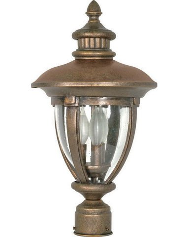 Nuvo Lighting 60-961 Galeon Collection Three Light Exterior Outdoor Post Lantern in Platinum Gold Finish - Quality Discount Lighting