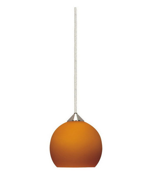Nuvo Lighting 60-653 One Light Mini Pendant in Brushed Nickel Finish And Butterscotch Sphere Glass - Quality Discount Lighting
