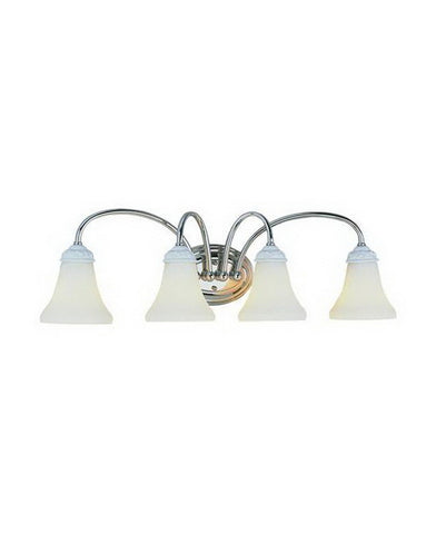 Trans Globe Lighting 2884 PC Four Light Bath Wall in Polished Chrome and Painted White Finish - Quality Discount Lighting