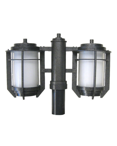 Kalco Lighting 9480IR-PL Energy Efficient Fluorescent Two Light Exterior Outdoor Double Post Lantern in Iron Finish - Quality Discount Lighting