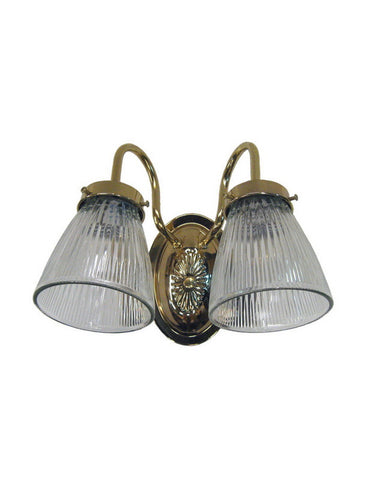 Epiphany Lighting 106030-CLG3 PB Two Light Bath Wall Fixture in Polished Brass Finish - Quality Discount Lighting
