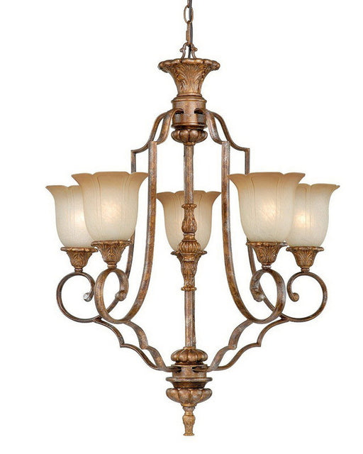 Vaxcel Lighting KB-CHU005 TZ Five Light Hanging Chandelier in Tuscan Bronze Finish - Quality Discount Lighting