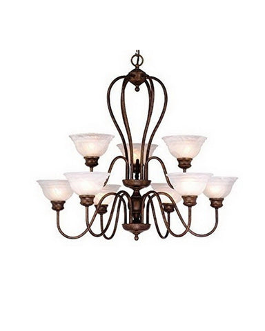 Vaxcel Lighting CH65309 WP Nine Light Hanging Chandelier in Weathered Patina Finish - Quality Discount Lighting