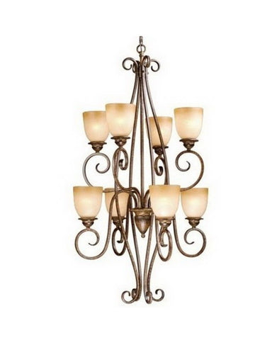 Vaxcel Lighting CH35908 AW Eight Light Hanging Chandelier in Aged Walnut Finish - Quality Discount Lighting