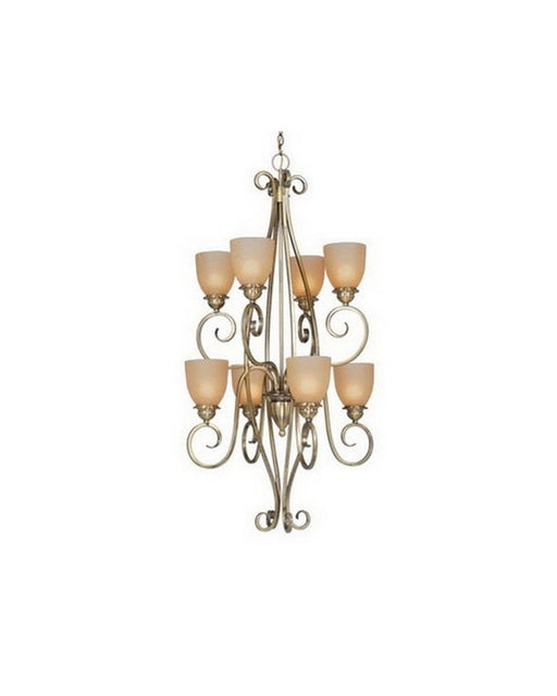 Vaxcel Lighting CH35908 AC Eight Light Hanging Chandelier in Antique Brass Finish - Quality Discount Lighting