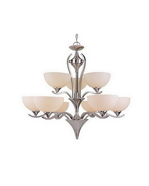 Vaxcel Lighting CH26209 SN Nine Light Hanging Chandelier in Satin Nickel Finish - Quality Discount Lighting
