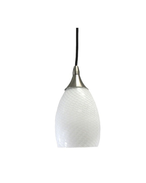 Epiphany Lighting PCP206 BN One Light Mini Pendant in Brushed Nickel Finish and White Ovation Glass