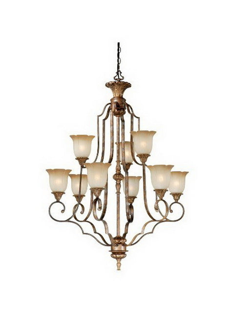 Vaxcel Lighting KB-CHU009 TZ Nine Light Hanging Chandelier in Tuscan Bronze Finish - Quality Discount Lighting