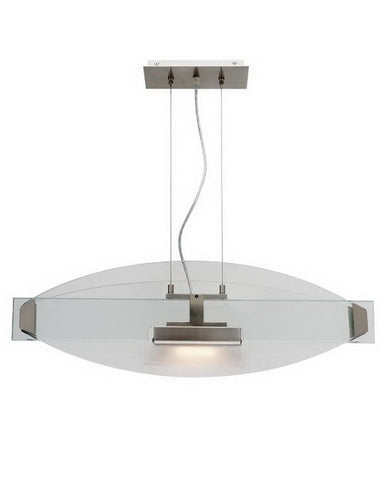 Access Lighting 50104 BSCLR One Light Halogen Pendant Chandelier in Brushed Steel Finish - Quality Discount Lighting