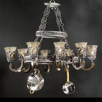 Stylicon by Thomas Lighting AB1304 STG Royal Conservatory Collection 8 Light Pot Rack Chandelier in Sterling Patina Finish - Quality Discount Lighting