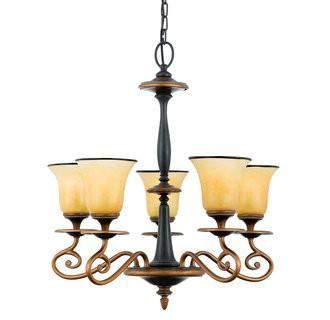Quoizel Lighting EY5005 SE Stonehedge Emily Collection 5 Light Chandelier in Burnished Copper and Ombra Finish - Quality Discount Lighting