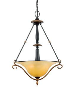 Quoizel Lighting EY2823 SE Stonehedge Emily Collection 3 Light Pendant Chandelier in Burnished Copper and Ombra Finish - Quality Discount Lighting
