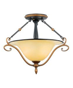 Quoizel Lighting EY1720 SE Stonehedge Emily Collection Two Light Semi Flush Ceiling Light in Burnished Copper and Ombra Finish - Quality Discount Lighting