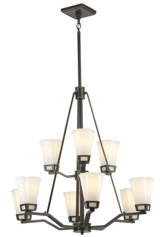 Forecast Lighting F1651-50 Aspen Collection Nine Light Chandelier in Bronze Patina Finish