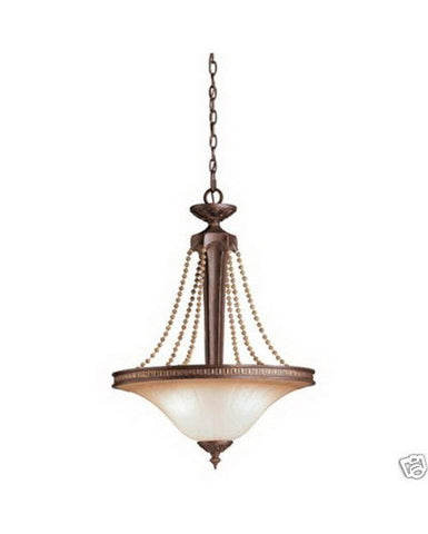 Kichler Lighting 4507 Three Light Hanging Pendant Chandelier in Carre Bronze Finish - Quality Discount Lighting