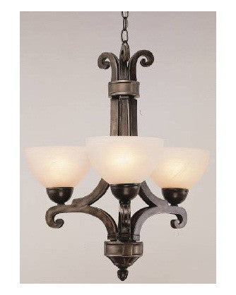 Trans Globe Lighting 9248 BPW Three Light Chandelier in Bronze Pewter Finish - Quality Discount Lighting