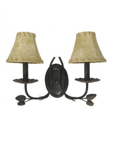 Trans Globe Lighting 80677 Two Light Wall Sconce in Bronze Finish with Faux Leather Shades - Quality Discount Lighting