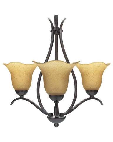 Globe Lighting 6085701 Three Light Chandelier in Crimson Coffee Finish