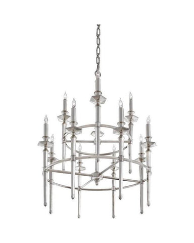 Quoizel Lighting RFV5012HP Favray Collection Twelve Light Chandelier in Heritage Silver Plate Finish - Quality Discount Lighting