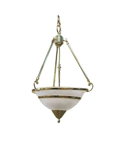International Lighting 3700-10 Three Light Pendant Chandelier in Polished Brass Finish - Quality Discount Lighting